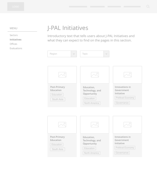 Low-fidelity wireframe: Initiative listing page